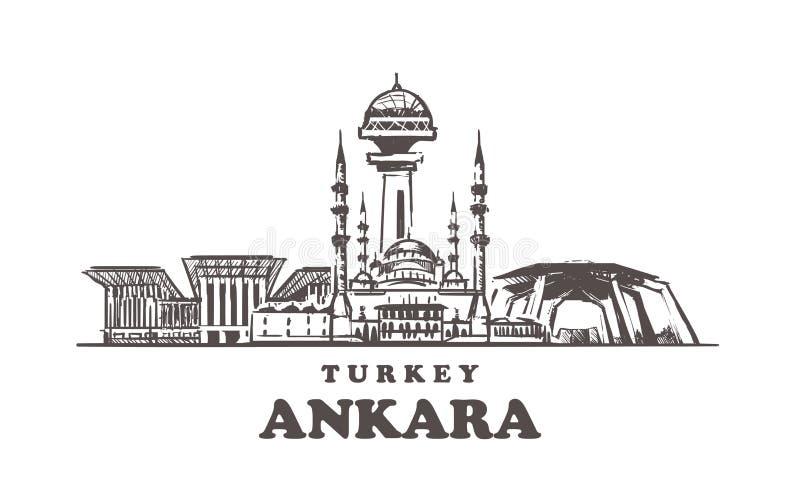 Horizon de croquis d'Ankara Illustration tirée par la main de la Turquie, Ankara illustration libre de droits