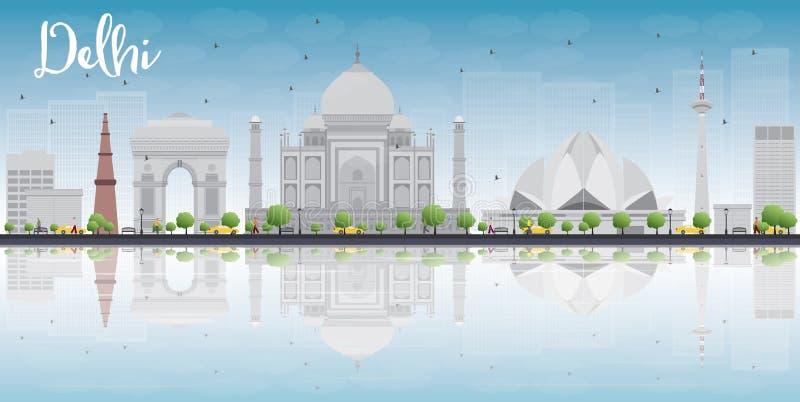 Horizon de Delhi avec les points de repère gris, le ciel bleu et les réflexions illustration libre de droits