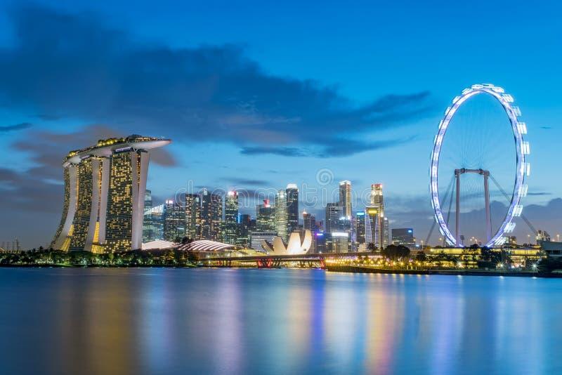 Horizon de district des affaires de Singapour photographie stock