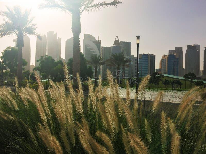 Horizon de Doha au parc de Sheraton dans Doha images libres de droits