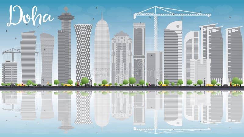 Horizon de Doha avec les gratte-ciel gris et le ciel bleu illustration de vecteur