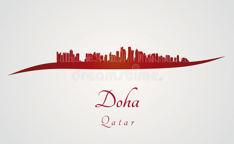 Horizon de Doha en rouge illustration de vecteur