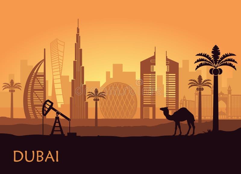 Horizon de Dubaï avec le chameau et le palmier dattier Les Emirats Arabes Unis illustration de vecteur
