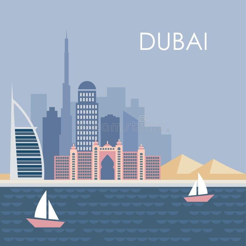 Horizon de Dubaï, conception plate moderne, fond illustration stock