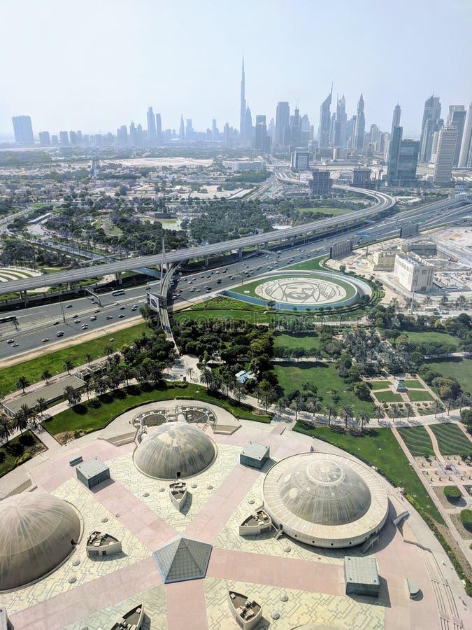 Horizon de Dubaï du haut du cadre image libre de droits