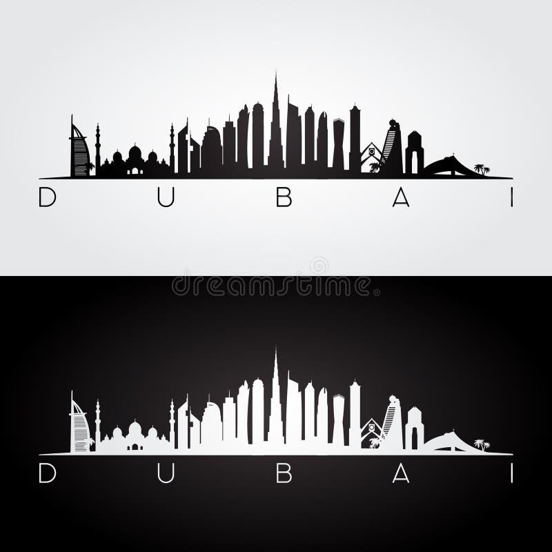 Horizon de Dubaï EAU et silhouette de points de repère illustration libre de droits