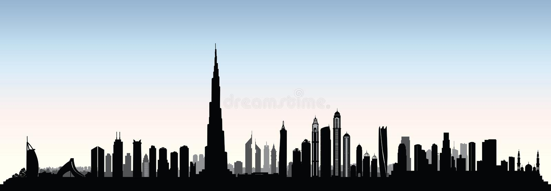 Horizon de Dubaï de ville Le paysage urbain Emirats Arabes Unis des EAU urbains luttent illustration de vecteur