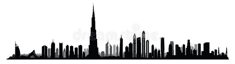 Horizon de Dubaï de ville Vue urbaine des Emirats Arabes Unis de paysage urbain des EAU illustration libre de droits