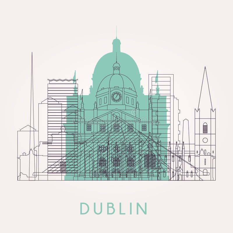 Horizon de Dublin d'ensemble avec des points de repère illustration stock
