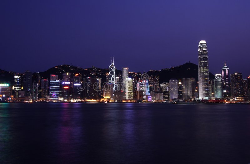 Horizon de Hong Kong par Night photo libre de droits