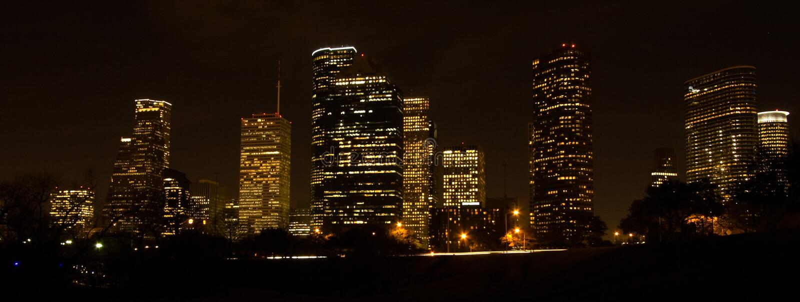 Horizon de Houston la nuit photos stock
