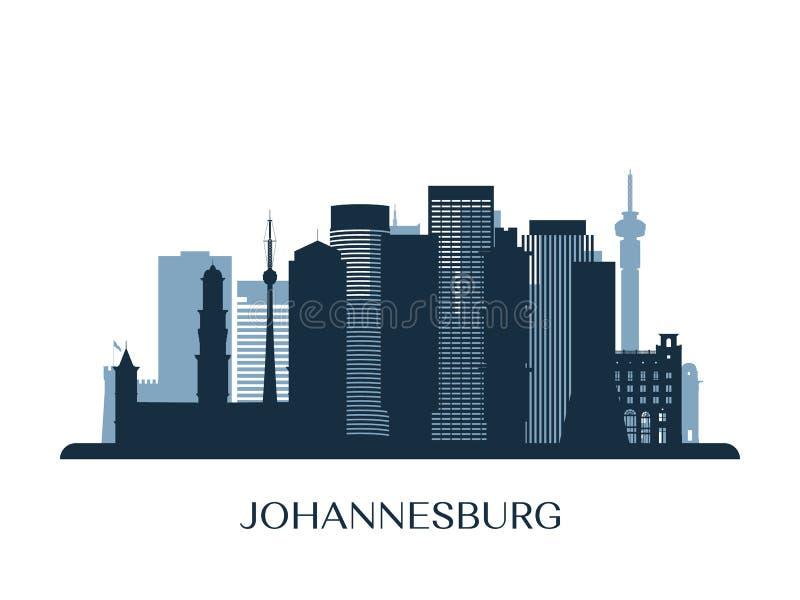 Horizon de Johannesburg, silhouette monochrome illustration stock