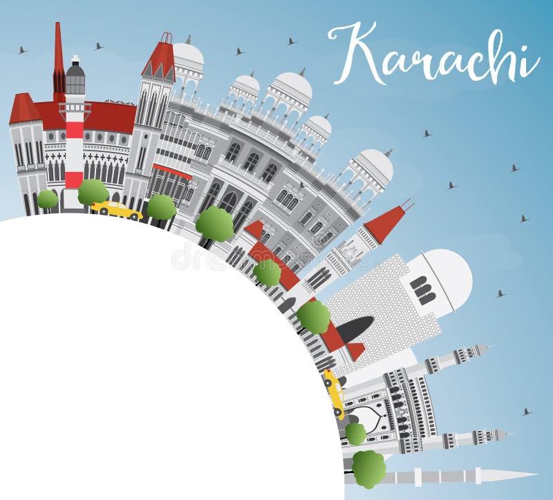 Horizon de Karachi avec Gray Landmarks, le ciel bleu et l'espace de copie illustration stock
