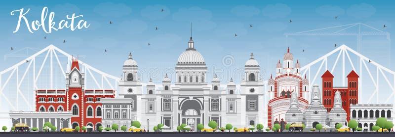 Horizon de Kolkata avec Gray Landmarks et le ciel bleu illustration libre de droits