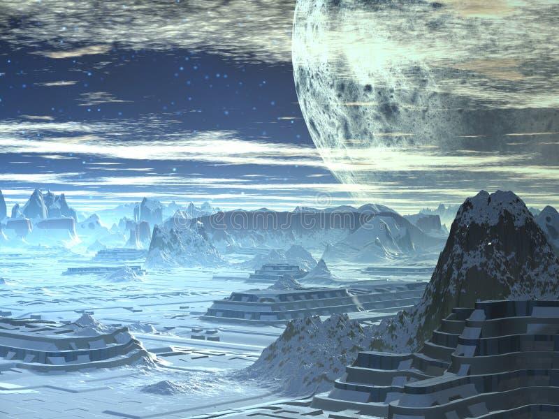 Horizon de l'hiver sur le monde étranger illustration stock