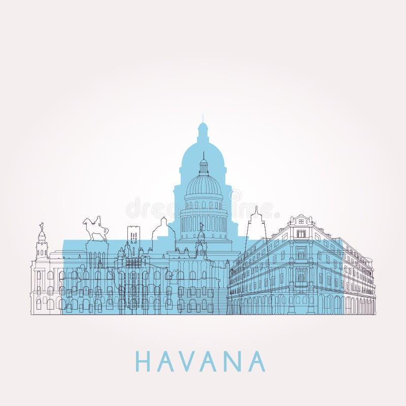Horizon de La Havane d'ensemble illustration libre de droits
