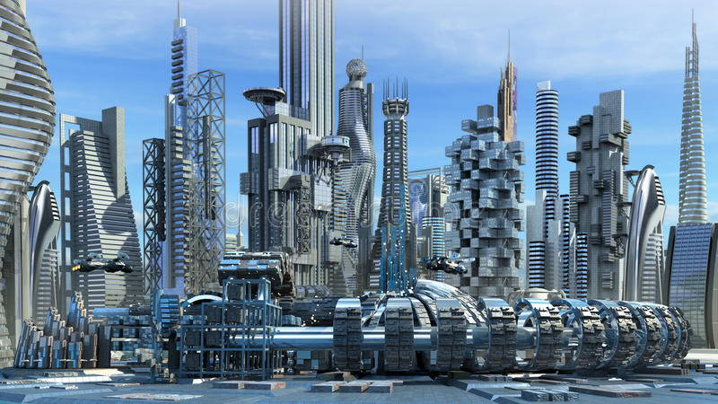 Horizon de la science-fiction illustration stock
