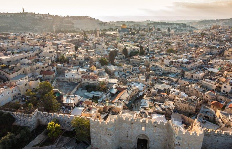 Horizon de la vieille ville à Jérusalem de nord, Israël photo libre de droits