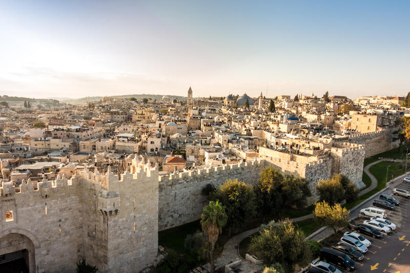 Horizon de la vieille ville à Jérusalem de nord, Israël photo stock
