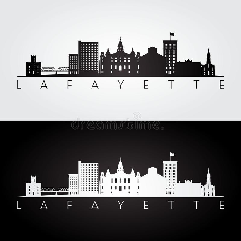 Horizon de Lafayette Etats-Unis et silhouette de points de repère illustration stock