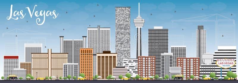Horizon de Las Vegas avec Gray Buildings et le ciel bleu illustration stock