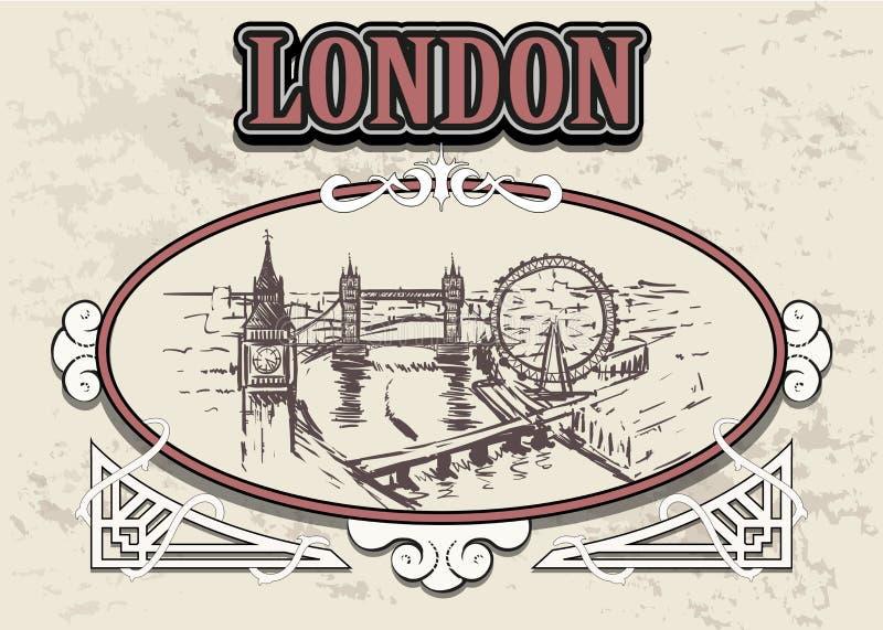 Horizon de Londres, Angleterre, dans un cadre décoratif de cru, rétro ville tirée par la main de Londres illustration de vecteur