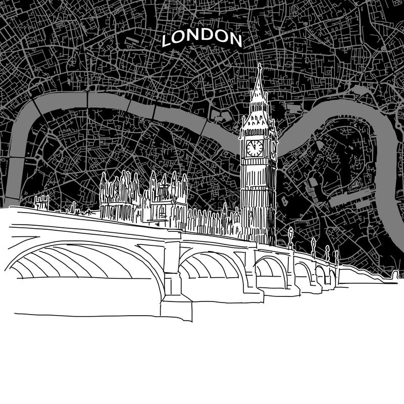 Horizon de Londres avec la carte illustration stock