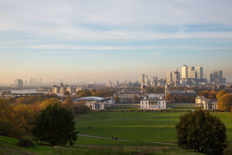 Horizon de Londres de colline de Greenwich images stock
