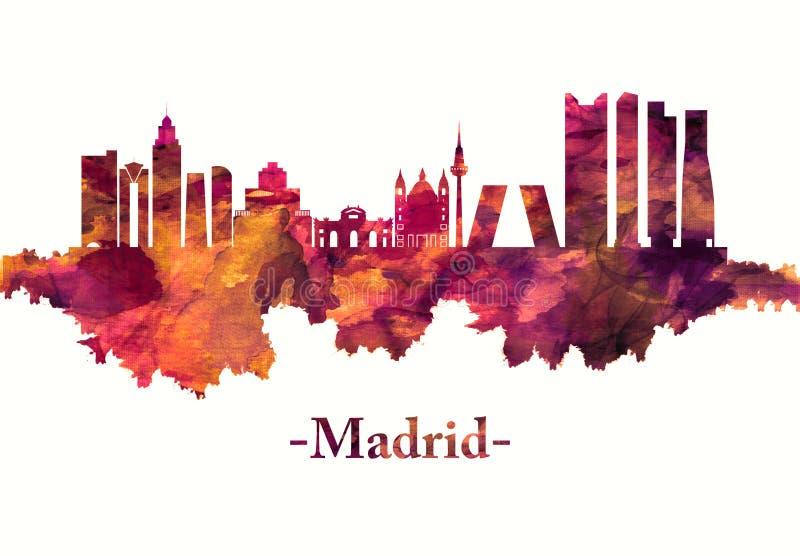 Horizon de Madrid Espagne en rouge illustration stock