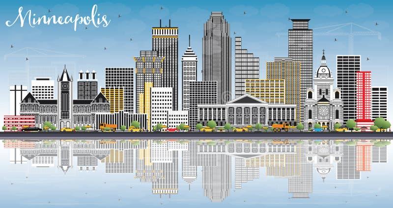 Horizon de Minneapolis Minnesota Etats-Unis avec des bâtiments de couleur, ciel bleu illustration stock