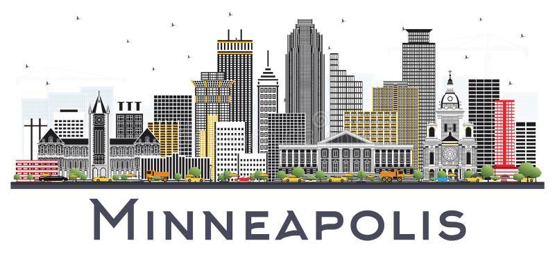 Horizon de Minneapolis Minnesota Etats-Unis avec des bâtiments de couleur d'isolement illustration stock