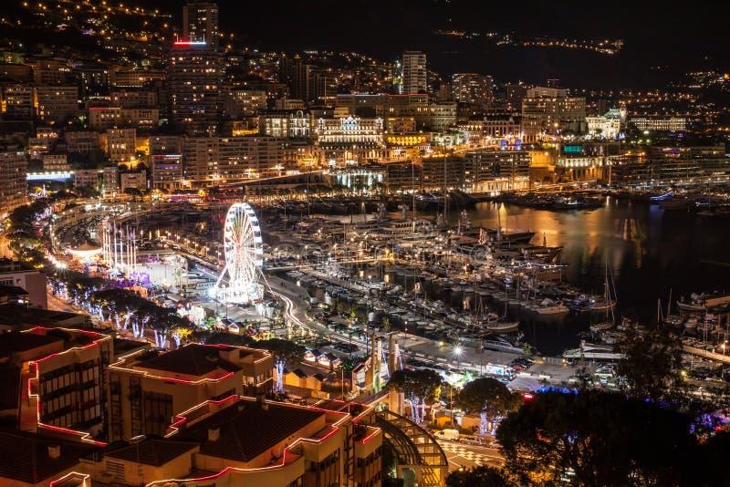 Horizon de Monte Carlo la nuit, la Côte d'Azur photographie stock