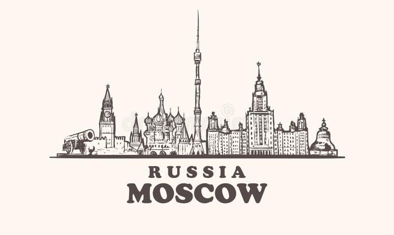 Horizon de Moscou, illustration de cru de la Russie, bâtiments tirés par la main d'éléments de ville de Moscou illustration stock