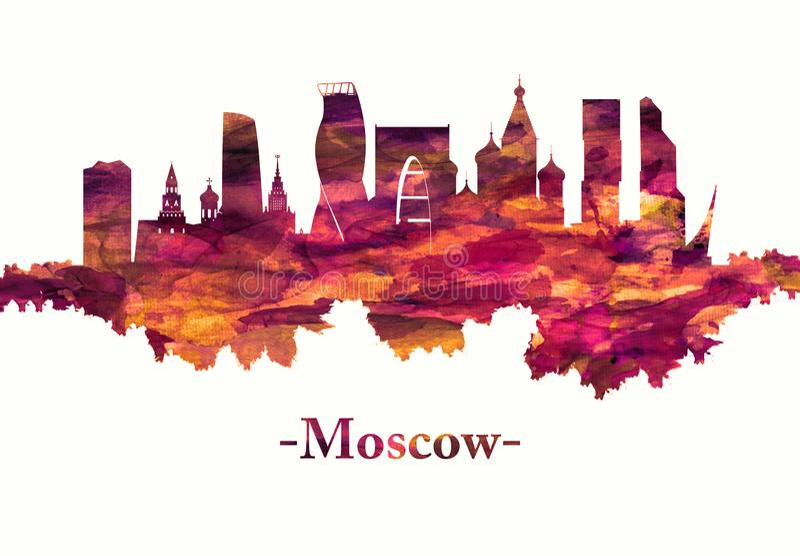 Horizon de Moscou Russie en rouge illustration libre de droits
