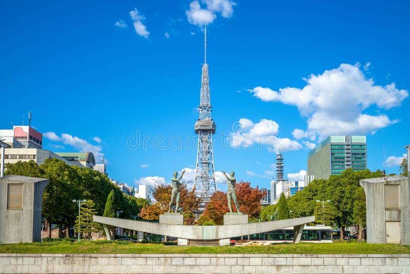 Horizon de Nagoya avec la tour de Nagoya TV photos libres de droits