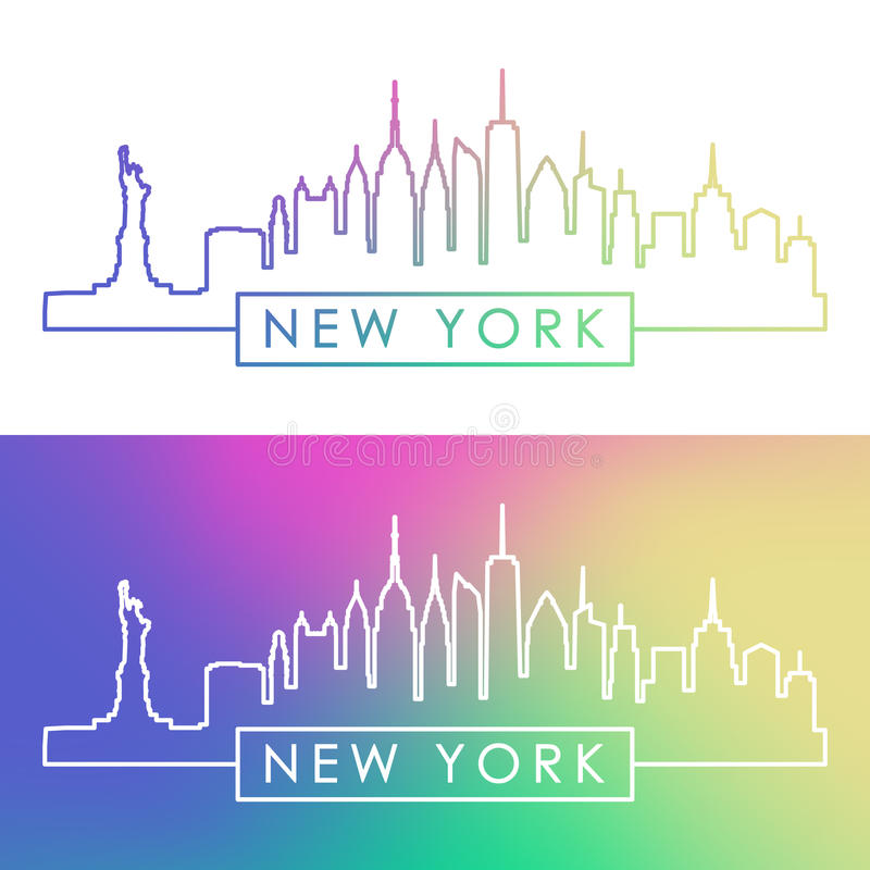 Horizon de New York Style linéaire coloré illustration libre de droits