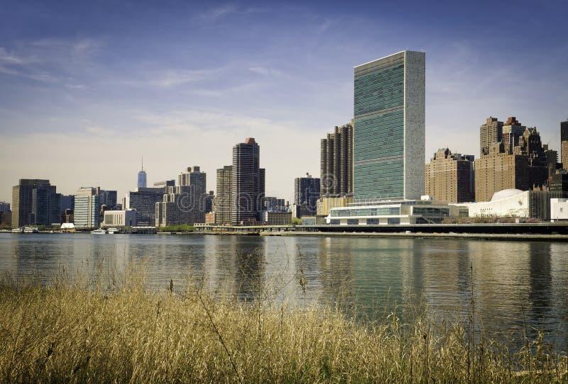 Horizon de New York, vue des Nations Unies images libres de droits