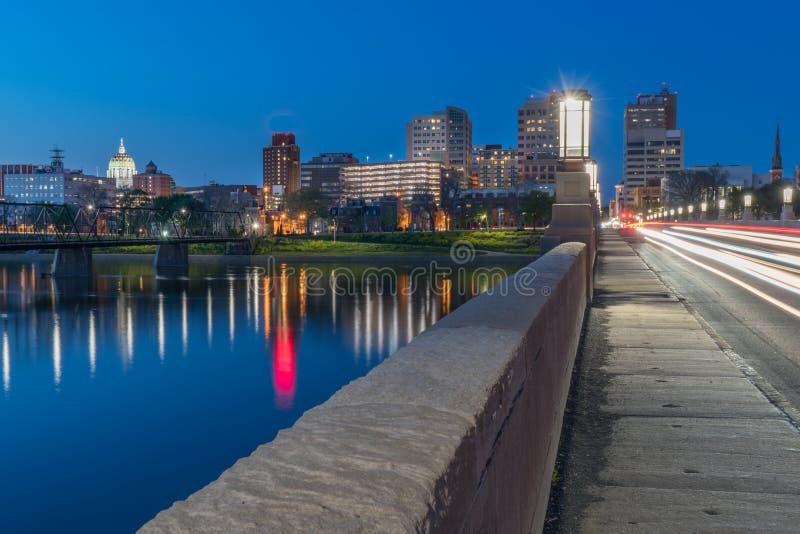 Horizon de nuit d'Harrisburg, Pennsylvanie photographie stock libre de droits