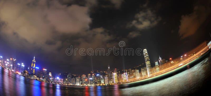 Horizon de nuit de Hong Kong photographie stock