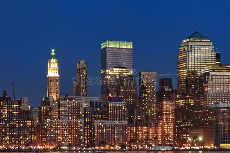 Horizon de nuit de New York City photographie stock libre de droits