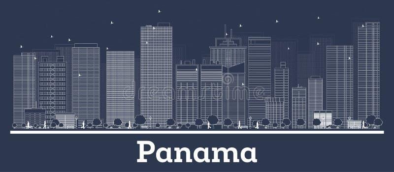 Horizon de Panamá City d'ensemble avec les bâtiments blancs illustration stock