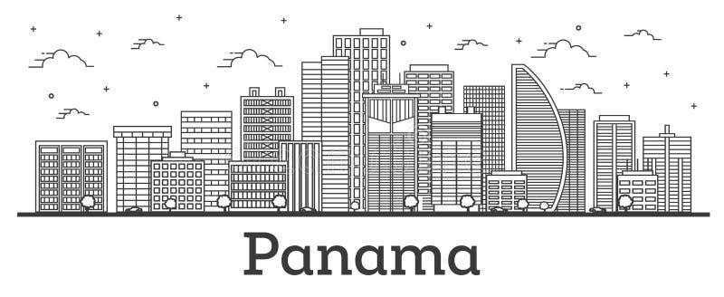 Horizon de Panamá City d'ensemble avec les bâtiments modernes d'isolement sur le blanc illustration de vecteur