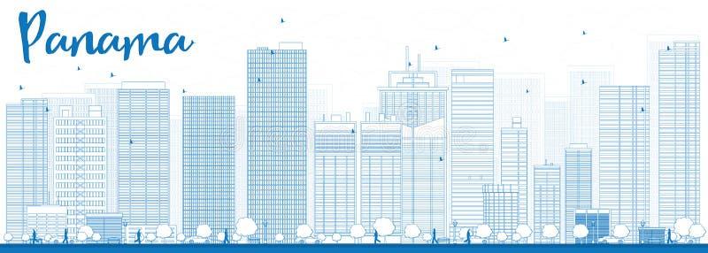 Horizon de Panamá City d'ensemble avec les gratte-ciel bleus illustration stock