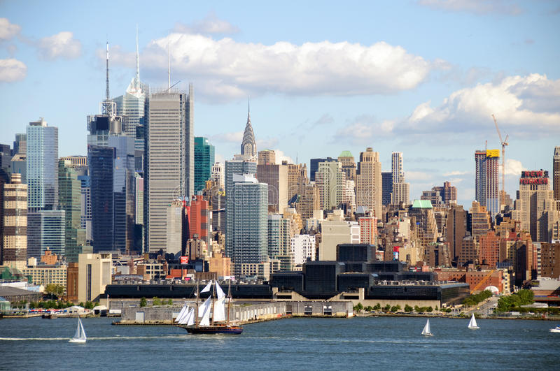 Horizon de paysage urbain de New York City, nyc, Etats-Unis photos stock