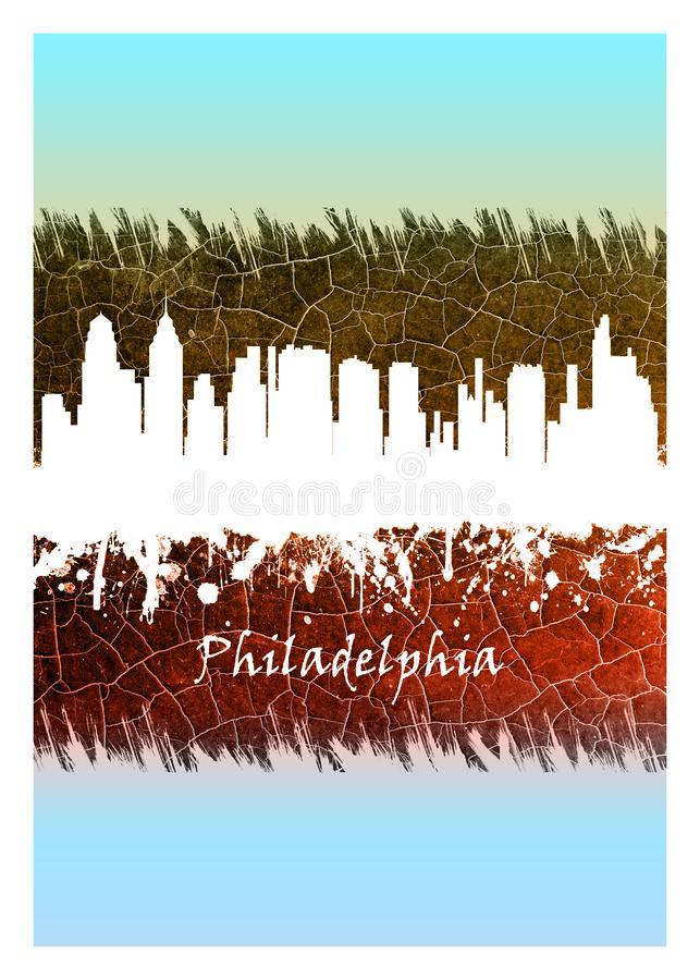 Horizon de Philadelphie bleu et blanc illustration libre de droits