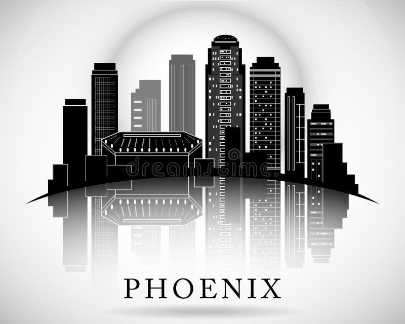 Horizon de Phoenix, Arizona Silhouette détaillée de vecteur illustration de vecteur