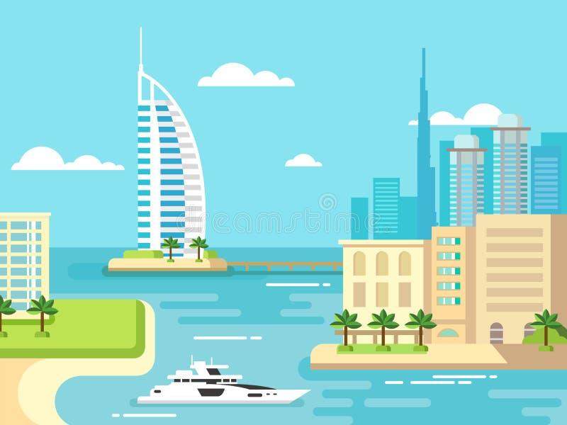 Horizon de plage de ville de Dubaï illustration libre de droits