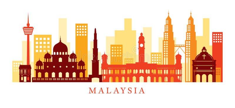 Horizon de points de repère d'architecture de la Malaisie, forme illustration stock