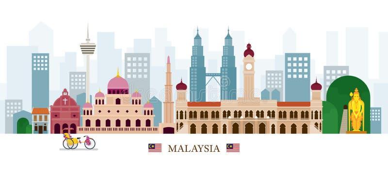Horizon de points de repère de la Malaisie illustration stock