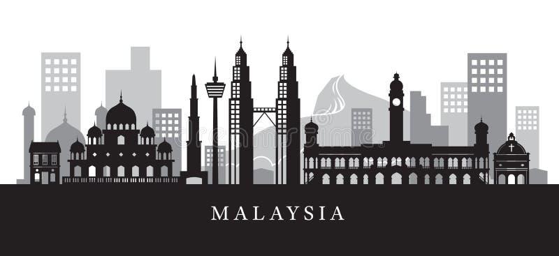 Horizon de points de repère de la Malaisie en silhouette noire et blanche illustration libre de droits